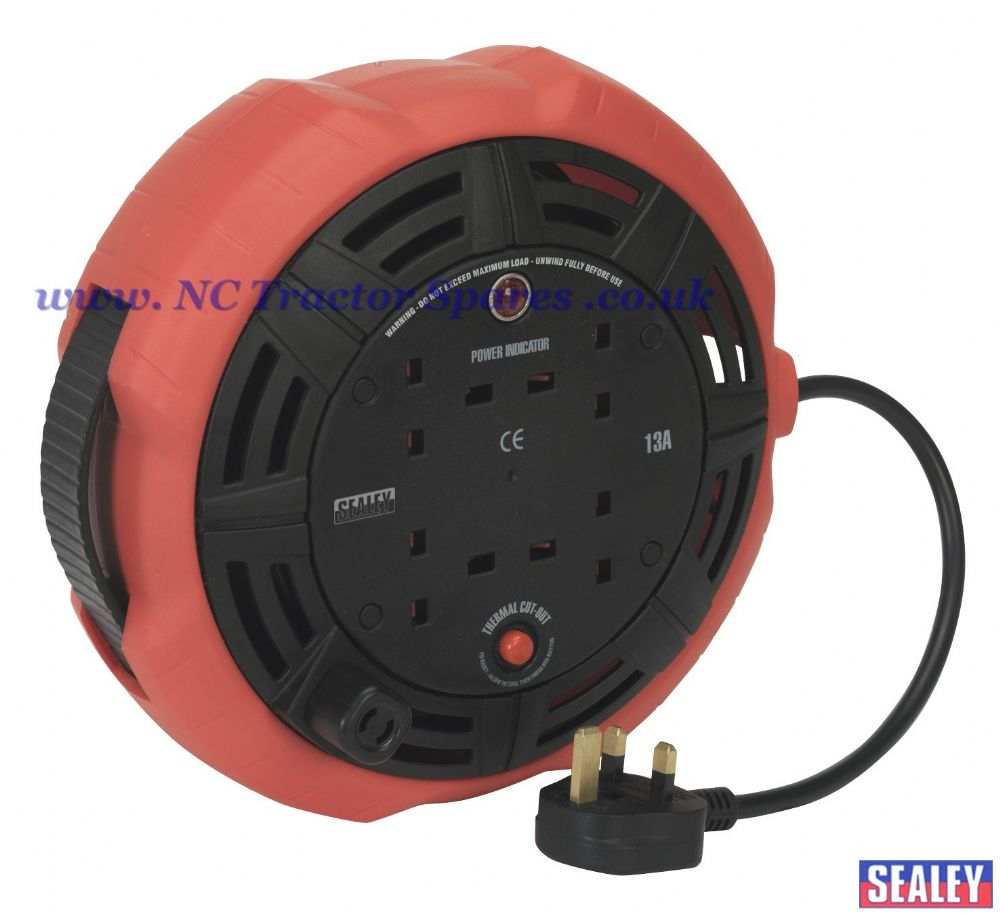 Cable Reel Cassette Type 10mtr 4 x 230V 1.25mm Heavy-Duty Thermal Trip